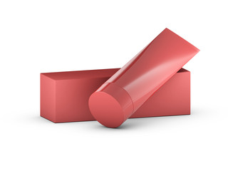 Red tube and packaging