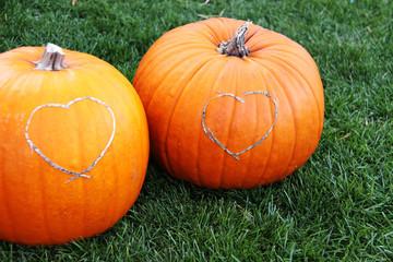 zwei pumpkins mit herz