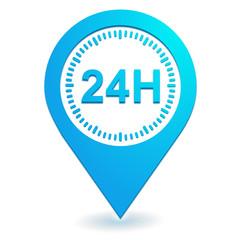 24 heures sur symbole localisation bleu