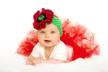 Lovely baby princess in red tutu dress