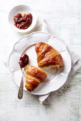 Croissant with Rhubarb Jam on a Plate