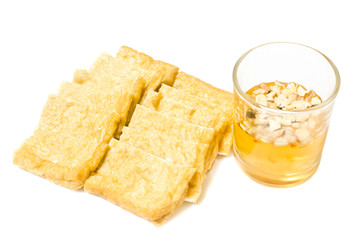 fried tofu isolated on white