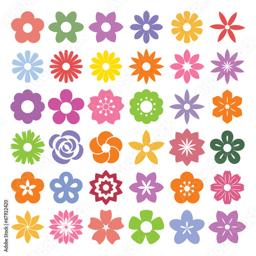 Set of Flower icons. poster