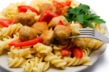 macaroni with meatballs and tomatoes the isolated