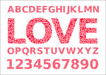 Vector letters are made of hearts