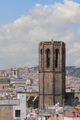 Belltower. Santa-Maria-del-Pi cathedral, Barcelona, Spain