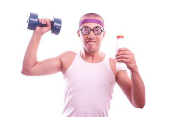 Nerd guy with dumbbell and bottle