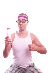 Nerd guy holding bottle with thumb up