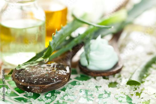 Aloe skin care products.