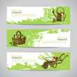 Set of sketch gardening banner templates. Hand drawn vintage ill - 67923840