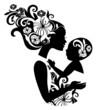 Beautiful mother silhouette with baby in a sling. Floral illustr