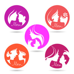Set of mother and baby silhouette symbols. Happy Mother's Day ic
