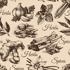 Seamless pattern of kitchen herbs and spices. Hand drawn sketch
