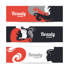 Banners with stylish beautiful woman silhouette. Template design