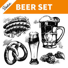 Sketch Oktoberfest set of beer. Hand drawn illustrations