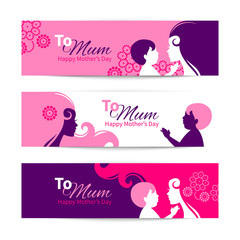 Banners for Happy Mothers Day. Beautiful mother with baby silhou