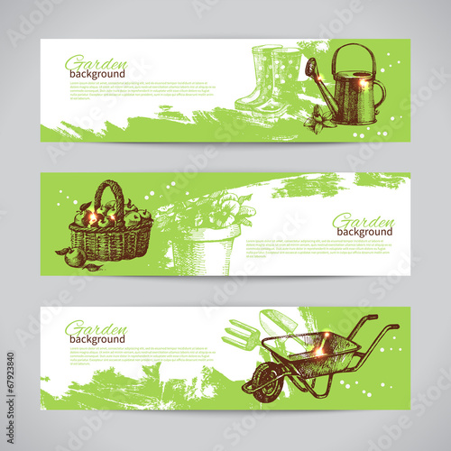 Set of sketch gardening banner templates. Hand drawn vintage ill - 67923840