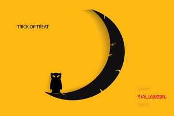 Halloween illustration with black owl on moon