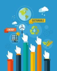 Go green sustainable energy concpet illustration
