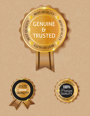 golden brown genuine qulity badge