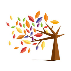 Vector sign autumn tree