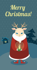 Christmas retro card with deer