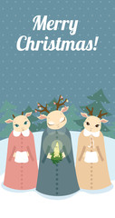 Retro Christmas card with deers