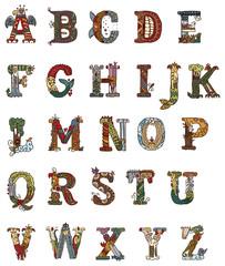 Medieval illuminated letters alphabet
