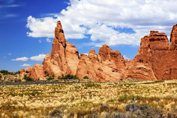 Rock Pinnacle Formation Canyon Arches National Park Moab Utah