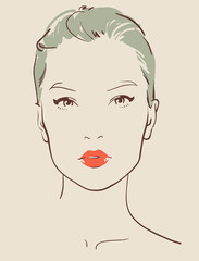beautiful woman face hand drawn vector illustration