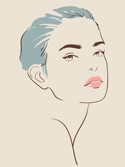 beautiful woman face hand drawn vector illustration