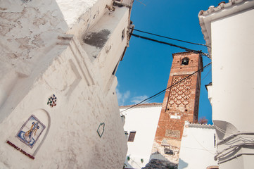Exterior of the church and bell tower arab style in Spain