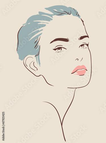 Fototapeta beautiful woman face hand drawn vector illustration