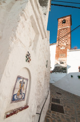 Exterior of the church and bell tower arab style in Axarquia