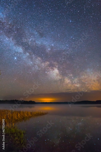 Bright Milky Way over the lake at night