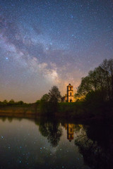 Old church under starry sky