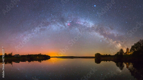 Fotobehang Hemel Bright Milky Way over the lake at night (panoramic photo)