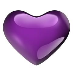 Glazen paars hart