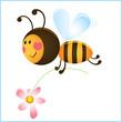 Obrazy na płótnie, fototapety, zdjęcia, fotoobrazy drukowane : Funny bee and flower