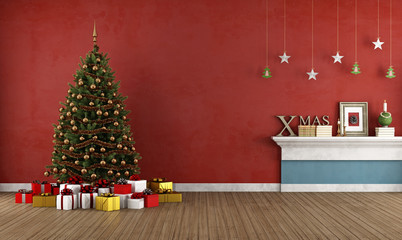 Old red room with christmas tree