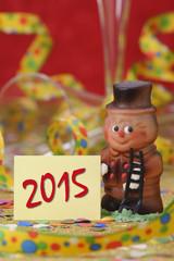 Neujahr 2015 mit Schornsteinfeger als Talisman