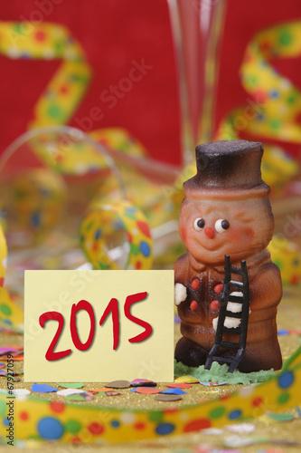 canvas print picture Neujahr 2015 mit Schornsteinfeger als Talisman