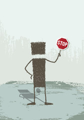 Stop. A person holding a stop sign