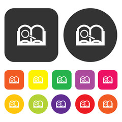 Search icon. Web symbol. Round and rectangle colourful 12 button