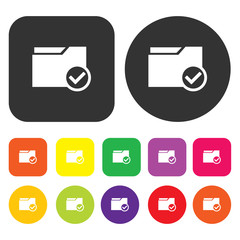 Folder icon. Web symbol. Round and rectangle colourful 12 button
