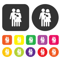 Couple icon. People symbol. Round and rectangle colourful 12 but