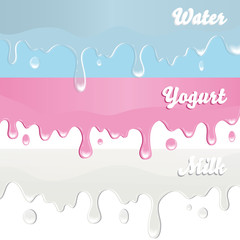 Milk, yogurt, water drips on white background