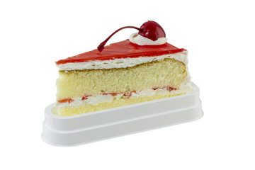 Cake slice with red cherry on white background