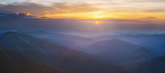 Dawn in the Carpathians mountains. (large panorama)