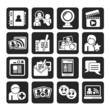 Silhouette social networking and communication icons